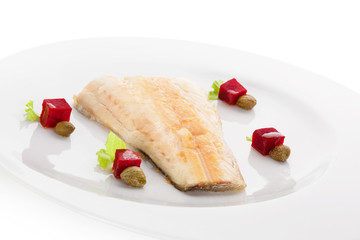 Grilled perch fish fillet.