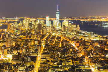 NYC Manhattan Downtown dusk