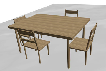 Table with four chairs