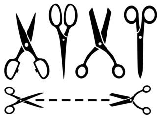 many isolated scissors set