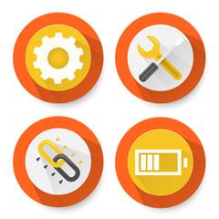 Set of flat settings icons
