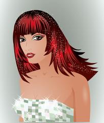 Beautiful young bride, vector illustration