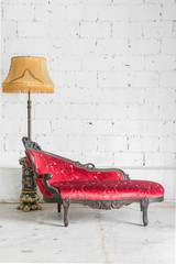 modern red sofa with lamp