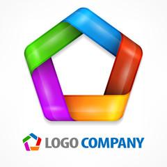 Color design element, geometric symbol pentagon on white,