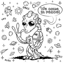 Alien space invader welcomes you. Hand drawn