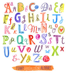 Funny watercolor vector alphabet