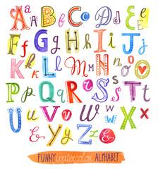 Funny watercolor vector alphabet