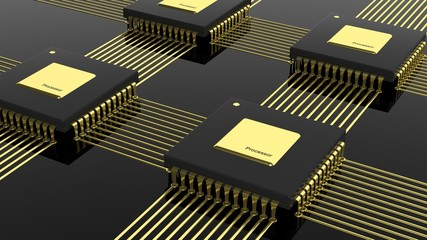 Computer multi-core microchip CPU isolated on black background
