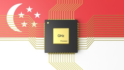 Computer CPU with flag of Singapore background