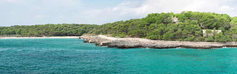 Panoramic view of the beach. Balearic Islands.