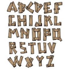 Illustration of wood alphabet A to Z