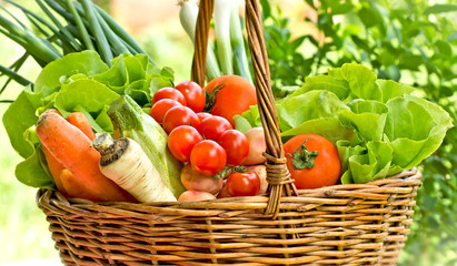 Vegetables in wicker basket  (clos-up)