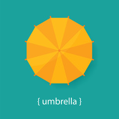 Orange umbrella on a blue background