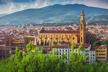 Panorama of old Florence and the church Saint Mary of the Flower