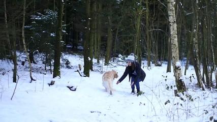 Slowmotion footage of golden retriever running towards girl