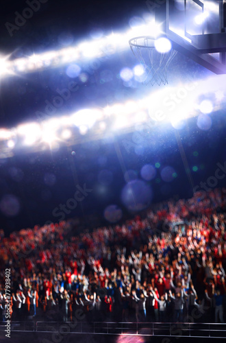 Grand basketball arena with spectators - 77938402