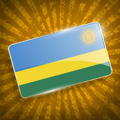 Flag of Rwanda with old texture. Vector