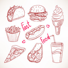 Set with various fast food