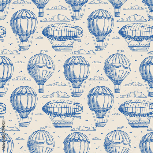 seamless background with balloons and airships - 77939034