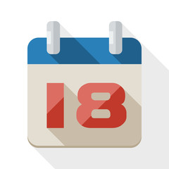 Calendar icon with long shadow on white