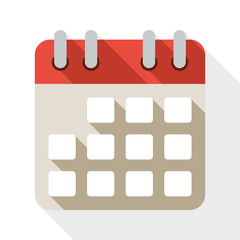 Calendar flat icon with long shadow on white background