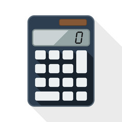 Calculator flat icon with long shadow on white background