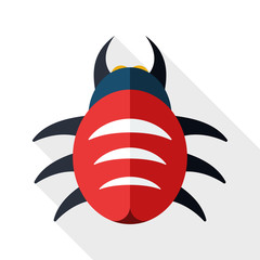 Bug icon with long shadow on white background