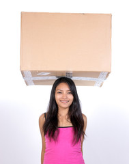 woman with a postal package
