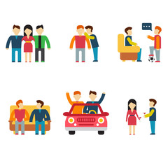 Friends and friendly relationship flat line icons set with