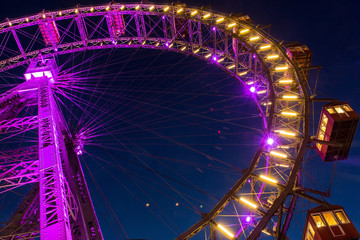 illuminated ferris wheel at night, Vienna