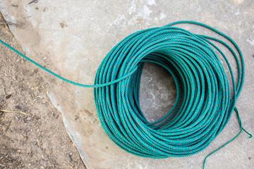 Green nylon rope, reel, line, green line, rope, nylon.