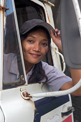 woman truck driver in the car