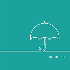 Background with Umbrella outline contour vector with shadow and