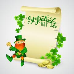 Saint Patrick's day vector illustration with Leprechaun