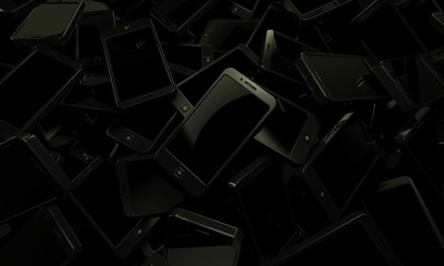 Black mobile devices background