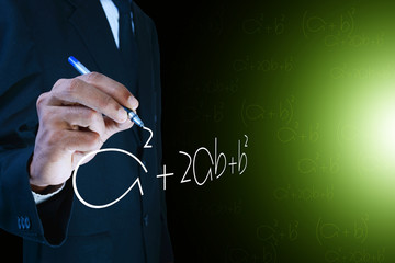 Man writing the mathematical equations