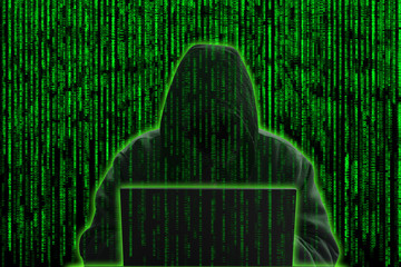 ceptual image of a hacker on matrix background