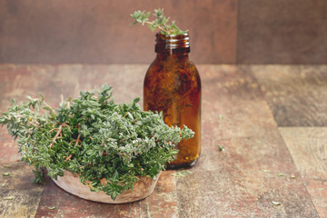 Thyme. Fresh thyme herb and Essential thyme oil