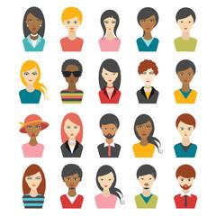 Big set of multi color people heads. avatar