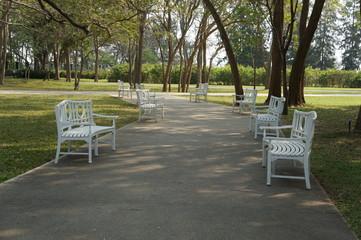 park garden bench walkway concept