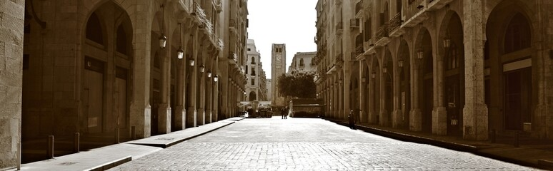 Downtown Beirut Panorama in Sepia
