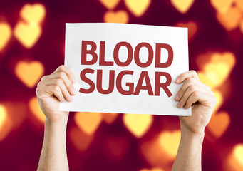 Blood Sugar card with heart bokeh background