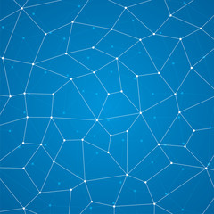 Abstract background, geometry, lines and points, blue