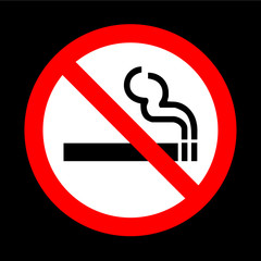 No smoking sign vector on black background