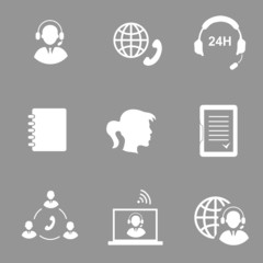 Call center service icons set  isolated  illustration
