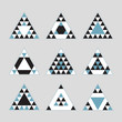 Geometrical blue tile equilateral triangles icons set