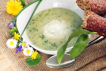 Suppe aus Frühlingskräutern oder Wildkräutern