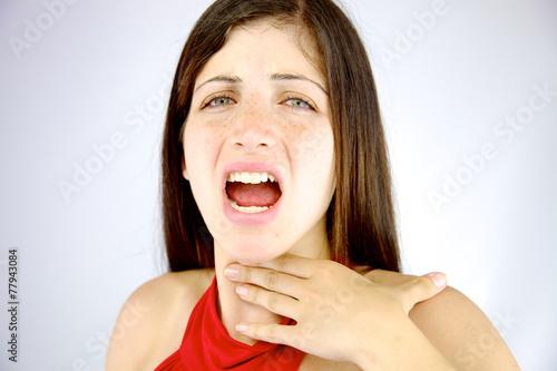 Beautiful woman having voice problem - 77943084
