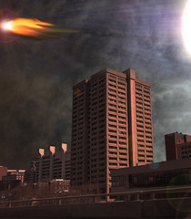 asteroid over city