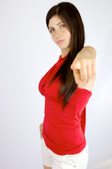 Strong beautiful woman pointing finger
